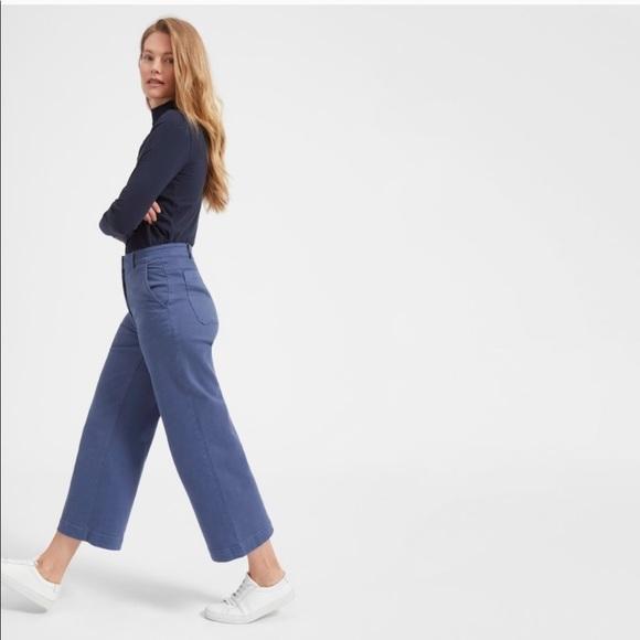 Everlane Pants - Everlane High Rise Wide Leg Crop in Mid Blue